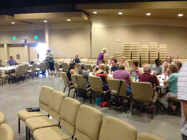 gathering for lunch after services