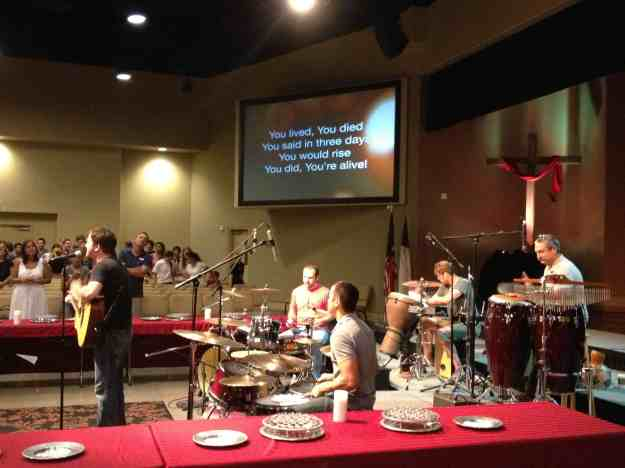 all drums worship team! pic by Angela S, 11am