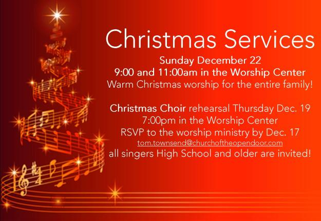 Come and sing in the Christmas Choir! We're hoping for a great turnout and a beautiful Sunday of Christmas worship